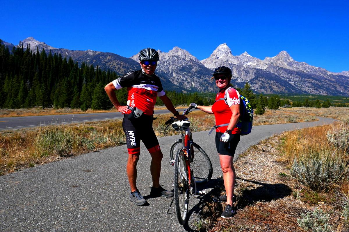 Piste de vélo et grand Teton
