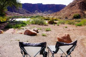 Vue de notre campement , canyon riviere Colorado